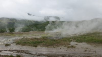 Steamy volcanic landscape at Geysir