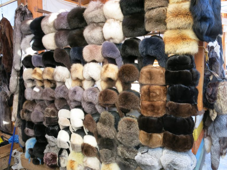 Russain hats at Vernissage market, Moscow, Russian hats