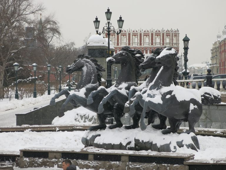 Stone horses outside the Kremlin