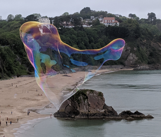 Large bubble over Tenby beach - Pembrokeshire beaches