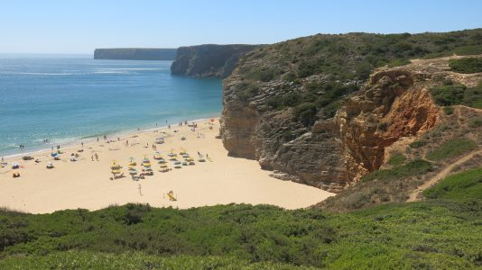 Beautiful and deserted Praia do Beliche, on the way from Lagos to Lisbon